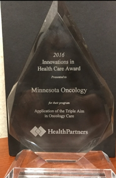 <p>The 2016 Innovation Partners in Excellence Award presented to Minnesota Oncology by HealthPartners.</p>