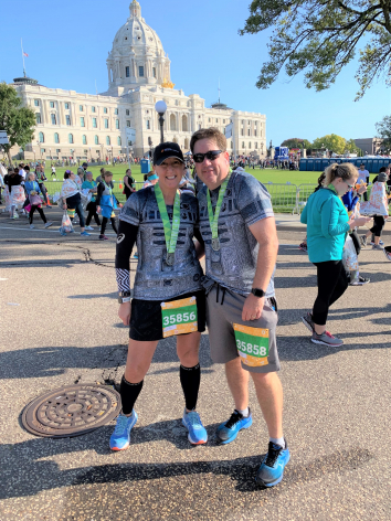 <p>Michele Peukert and her husband, Chris, ran the Twin Cities 10-Mile race the Sunday before her final chemotherapy appointment. </p>