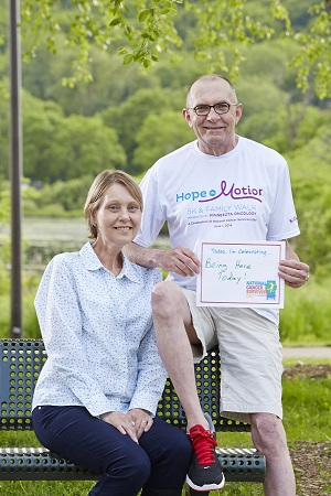 <p>Dennis Seifert and his wife, Annette (also a cancer survivor). Dennis&#39; goal is to complete the one-mile walk at Hope in Motion.</p>